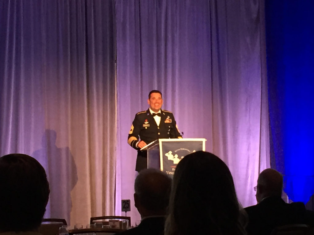 MSG (Ret) Jon Parra of SBTactical and PCVF Board Member introducing the Medal of Honor Recipient